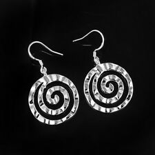 New Pretty Silver Plated Spiral Circle Shaped Dangle Drop Earrings