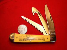 SCHRADE OLD TIMER SCRIMSHAW BUCK DEER HUNTING KNIFE SAW  TRAPPER 3 BLADE 0611