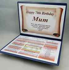 70TH  BIRTHDAY GIFT- FULLY PERSONALISED  ITEM -THE DAY YOU WERE BORN - KEEPSAKE