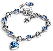 Swarovski Elements Crystal Spade Sapphire Heart Bangle Bracelet Chain Box P24