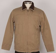 CLASS CLUB Men's Cotton Winter Jacket Size M Medium Beige Faux Fur Liner