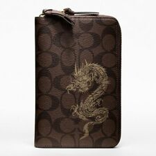 $298 NWT Coach Dragon Signature Travel Zip Wallet 61533 Brass / Mahogany Brown