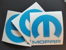 """3 X Mopar Vinyl Decal Sticker Dodge Jeep, 3""""X3''. BLUE DIE CUT"""