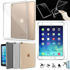 Ultra Thin Clear TPU Gel Skin Case Cover+Tempered Glass For Apple iPad PRO 9.7""