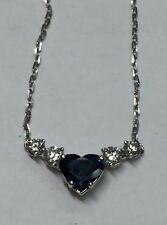 2 ct Natural (real) DIAMOND + SAPPHIRE pendant NECKLACE solid 18k white gold