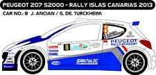 DECALS 1/43 PEUGEOT 207 S2000 - #8 - ANCIAN - RALLYE ILES CANARIES 2013 - D43193