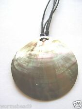 Shell disc pendant adjustable black cord necklace - Fair Trade