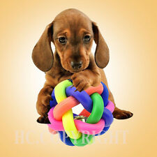 Pet Dog Puppy Colorful Dental Teething Healthy Teeth Chew Training Play Ball Toy