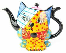 Cat Teapot - Ceramic, Hand Painted -Multi Coloured - Spots & Stripes- Boxed