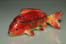 SWAROVSKI CRYSTAL Rucinni Red Koi Fish Trinket JEWELRY BOX HANDPAINTED