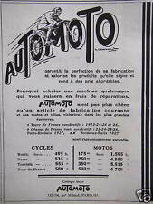 PUBLICITÉ 1920 AUTOMOTO CYCLES ET MOTOS GARANTIT LA PERFECTION DE SA FABRICATION