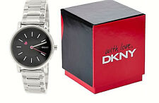 NWT DKNY Women's Watch Silver Tone Bracelet Pink Heart Black SOHO NY2268 $135
