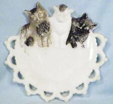 3 Little Kittens Milk Glass Plate Westmoreland Antique Black Gray White #3