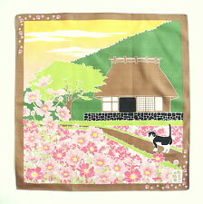 COSMOS WITH CAT AUTHENTIC JAPANESE COTTON FUROSHIKI (TB72)