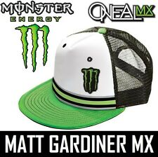 Monster Energy Oneal Trucker Cap Hat Dietrich Motocross Blanco Verde Snap Back