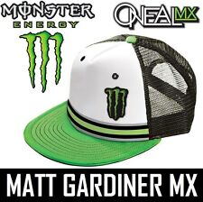 MONSTER ENERGY ONEAL Camionista BERRETTO CAPPELLO Dietrich MOTOCROSS BIANCO VERDE Snap Back
