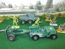 52FP VINTAGE BRITAIN'S LTD. 25 POUND GUN, U.S. JEEP DEETAIL INFANTRY & SALADIN
