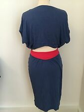 Nancy Dee Open Back Blue And Red Dress Size S