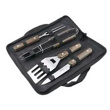 4PC BBQ Tool Set & Bag - Stainless Steel Barbecue Cooking Utensils