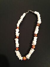 """Beads And Shell Fashion Necklace Choker 15"""" White And Orange Multicolor"""