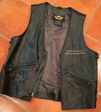 VTG Harley Davidson Genuine Solid Black Leather Vest Lace Sides & Buckles Sz. M