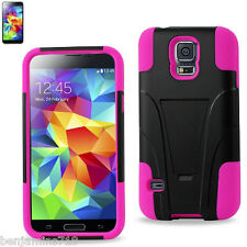 Silicon Case+Protector Cover Samsung GALAXY S5 HOT PINK BLAC NEW TYPE KICKSTAND