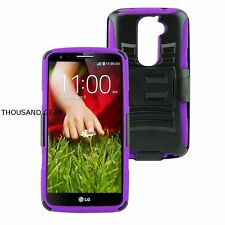 For LG G2 D802 Rugged Hybrid Hard Case Amor+Belt Clip Holster Stand Purple
