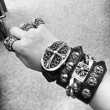 CHROME HEARTS Leather Sterling silver Cross Bracelet!!