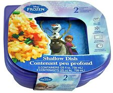 2 Pk Disney Frozen Anna & Olaf Food Containers Snack Box Shallow Dish BPA Free