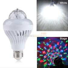 E27 2 in1 Rotating Disco RGB Bulb Lamp Crystal Ball Changing LED Bar Light White