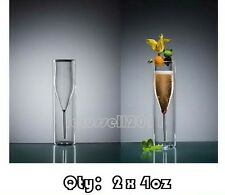 BRAND NEW LUXURY DOUBLE WALL LAYER CHAMPAGNE WINE GLASS x2 4OZ.