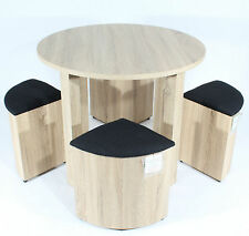 REBOXED DINING TABLE /w Four Black STOOLS SET 4 Oak CHAIRS Space Saver Furniture