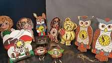 11x Vintage W.German Character Clocks,Moving Eyes,as found