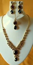 Indian Tradition Kundan Red,Green color Set Necklace and Earrng Gold Plated set.