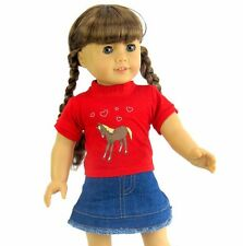 "Red Cowgirl western skirt set 18"" doll clothes fits American Girl AG"