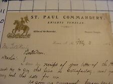 Original letter 1906 ST. PAUL COMMANDERY knights templar signed nice VIGNETTE