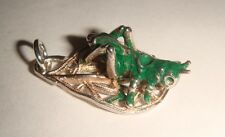 RARE VINTAGE SILVER & ENAMELED GRASSHOPPER ON FILIGREE LEAF CHARM