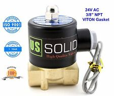"""U. S. Solid 3/8"""" Brass Electric Solenoid Valve 24VAC Normally Closed VITON"""