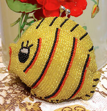 60s Gold Yellow Clown Fish Fully Beaded Coin Purse