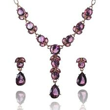 Women 14k Gold Filled Square Cut Purple Emerald Necklace Earrings Set B728