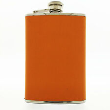 Brizard Orange Leather Stainless Steel 8oz Hip Flask, New in Box, Made in USA