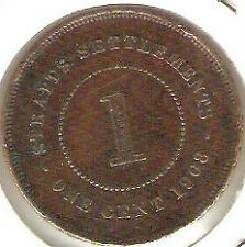 Offer 1908 Straits Settlements KEVll  1 cent very high grade. details! scare??