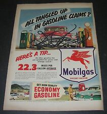 Print Ad 1953 Mobil MOBILGAS Art Tangled Up in Gasoline Claims car gas pump hose
