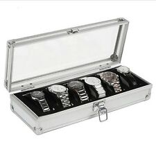 6 Grid Slots Jewelry Watches Display Storage Box Case Aluminium Watch Box QT