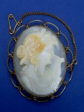 FINE ANTIQUE VICTORIAN 9CT GOLD MOUNT CARVED SHELL LADY CAMEO BROOCH/PIN