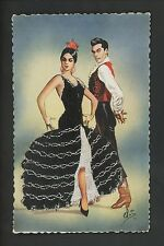 Embroidered clothing postcard Artist Elsi Gumier, Dancers music