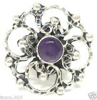 TAXCO MEXICAN STERLING SILVER AMETHYST DECO SCROLL RING MEXICO