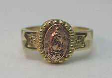 14K YELLOW & ROSE GOLD BABY/CHILD RING WITH VIRGIN MARY IMAGE SIZE 1 MARKED B **