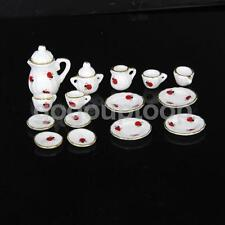 15 Dolls House Miniature Ceramic Porcelain Tea Set Dish Cup Plate w/ Ladybug