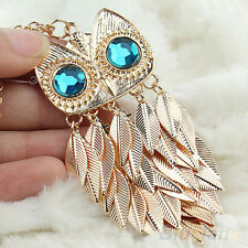 Women Fashion Golden Tone Leaves Owl Chic Pendant Long Chain Necklace